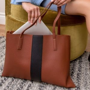 Vince Camuto Lucky Vegan Leather Brown Tote Bag